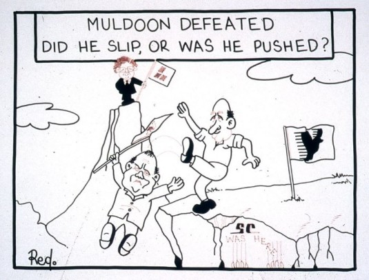 """Muldoon defeated, did he slip, or was he pushed?"""