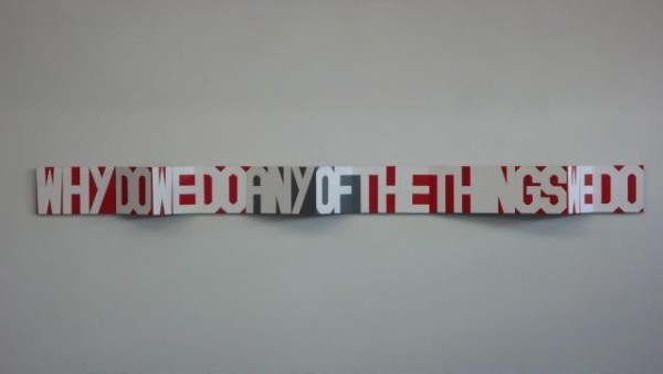 An artwork by Rose Nolan is shown displayed on a white wall. The artwork is a long strip of concertina folded card, with white lettering saying 'why do we do any of the things we do' taking up the whole strip of card. The spaces between the letters are filled with bright red and grey.